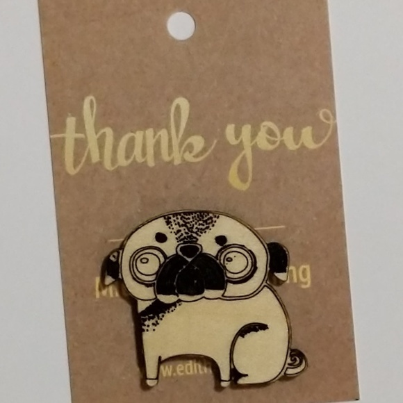 handmade Jewelry - Pug Dog Laser Etched Wood Pin NWT